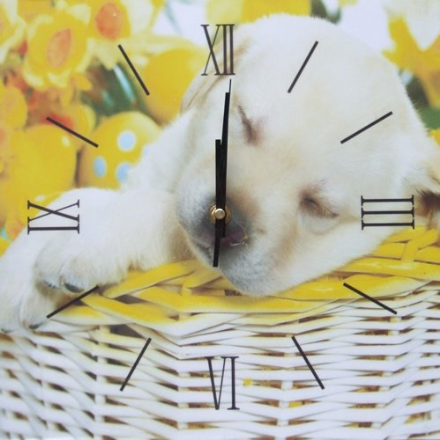 Puppy In Basket Decorative Wall Clock